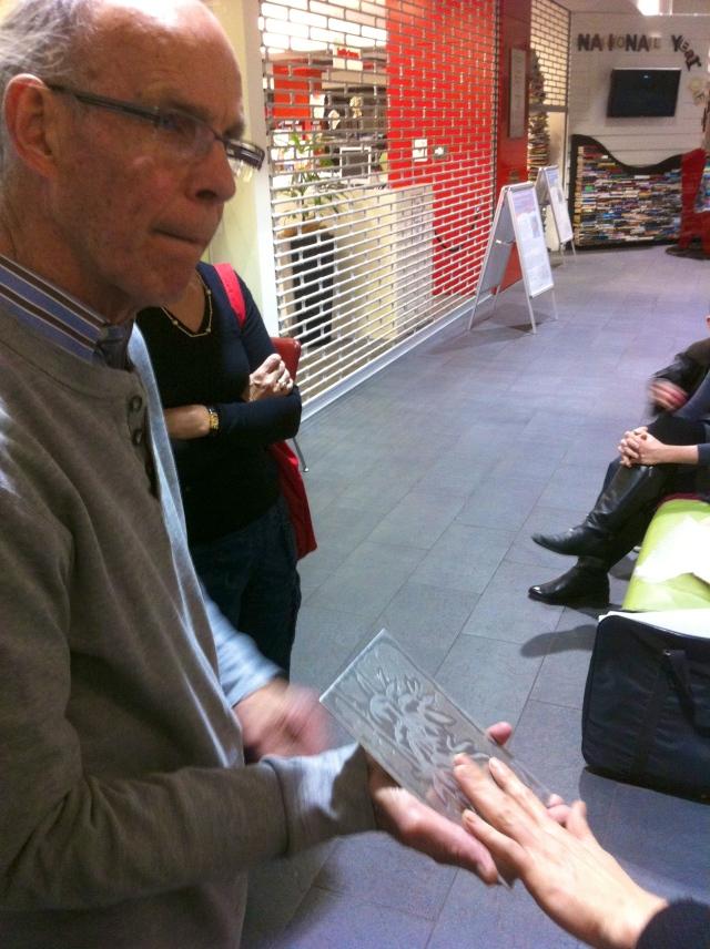 Examining Max's etching Pate