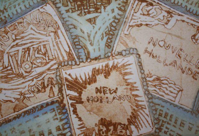 CHAPMAN Marion_Postcard exchange_linocut & watercolour